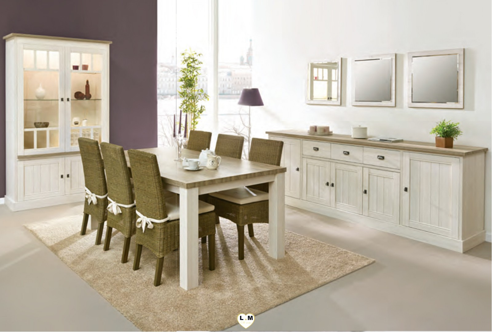york 1 chene blanc et miel ensemble sejour salle a manger. Black Bedroom Furniture Sets. Home Design Ideas