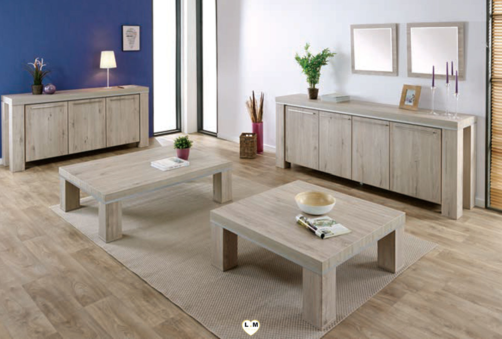 malaga chene gris clair et alu ensemble sejour salle a manger lignemeuble com. Black Bedroom Furniture Sets. Home Design Ideas