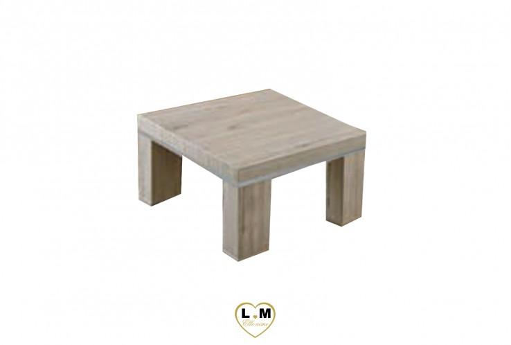 MALAGA CHENE GRIS CLAIR ET ALU SEJOUR SALLE À MANGER: LA TABLE PORTE LAMPE. L: 68 - P: 40 - H: 68cm.