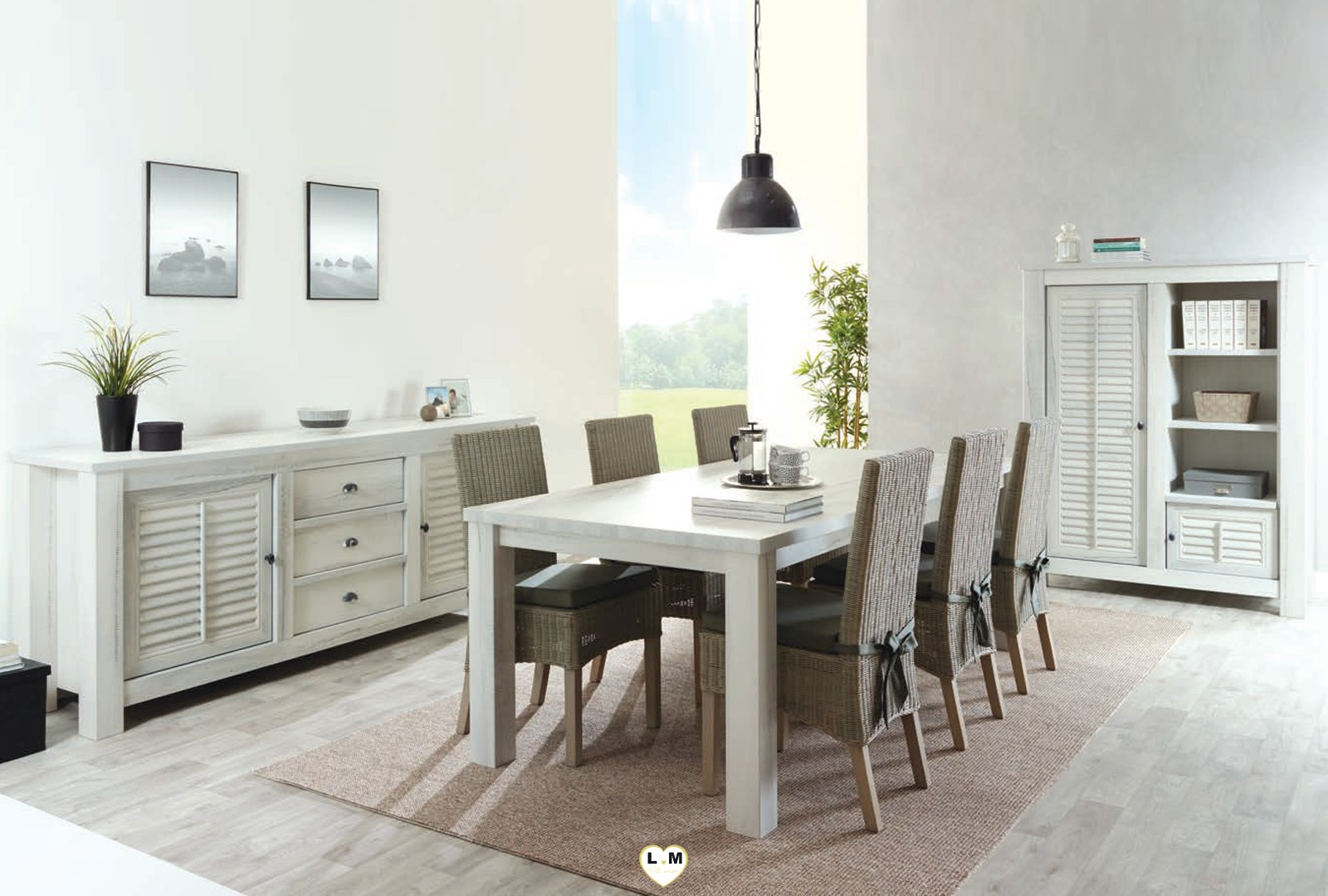 mabel bois blanc vieilli ensemble sejour salle a manger. Black Bedroom Furniture Sets. Home Design Ideas