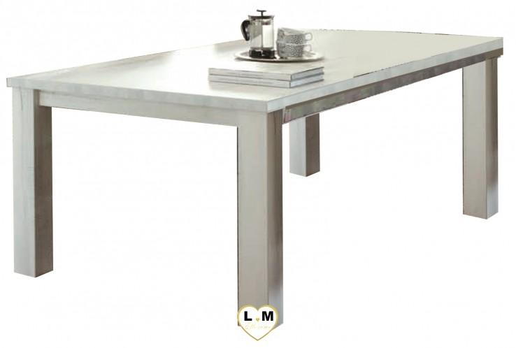 MABEL BOIS BLANC VIEILLI SEJOUR SALLE À MANGER: LA GRANDE TABLE REPAS 225cm avec une allonge de 40cm. L: 225+40 - P: 102 - H: 78cm.