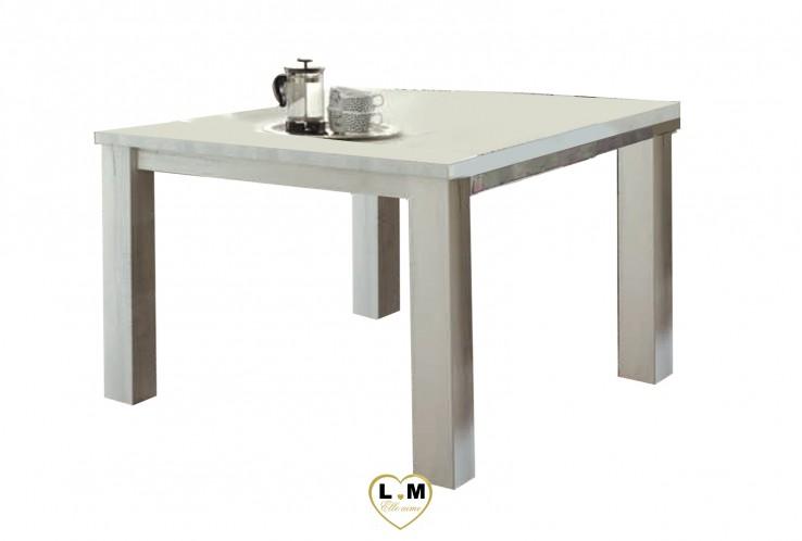 MABEL BOIS BLANC VIEILLI SEJOUR SALLE À MANGER: LA TABLE REPAS CARRÉE. L: 135 - P: 135 - H: 78cm.