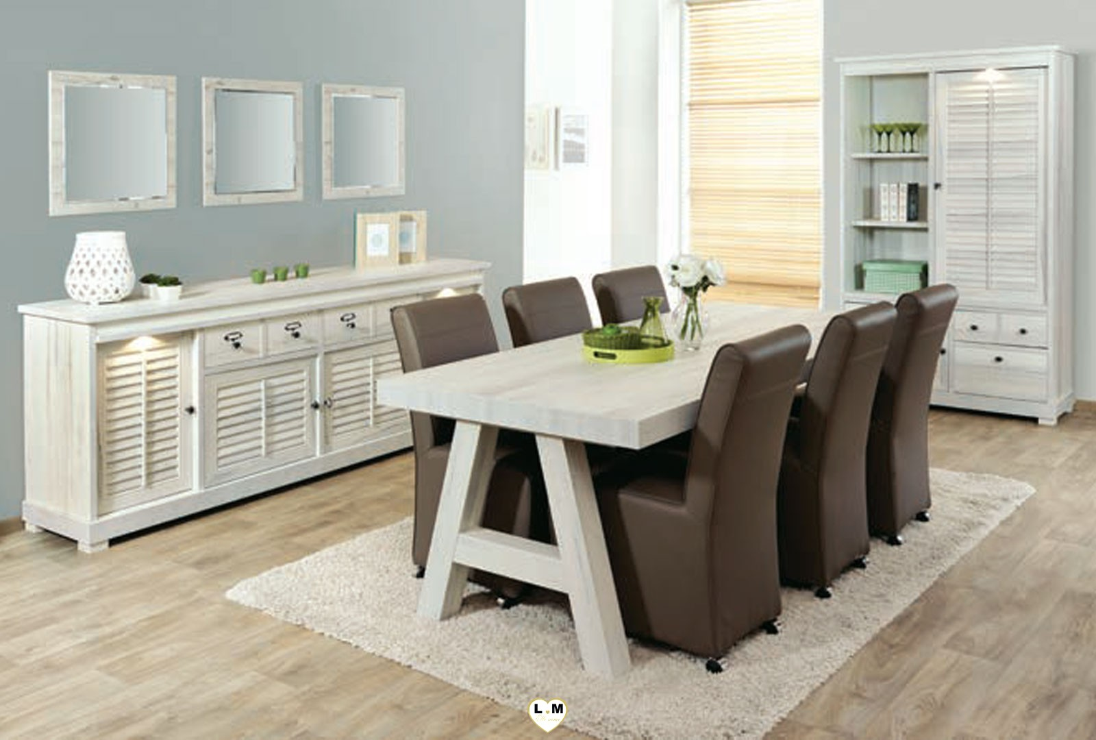 merida bois blanc vieilli ensemble sejour salle a manger. Black Bedroom Furniture Sets. Home Design Ideas