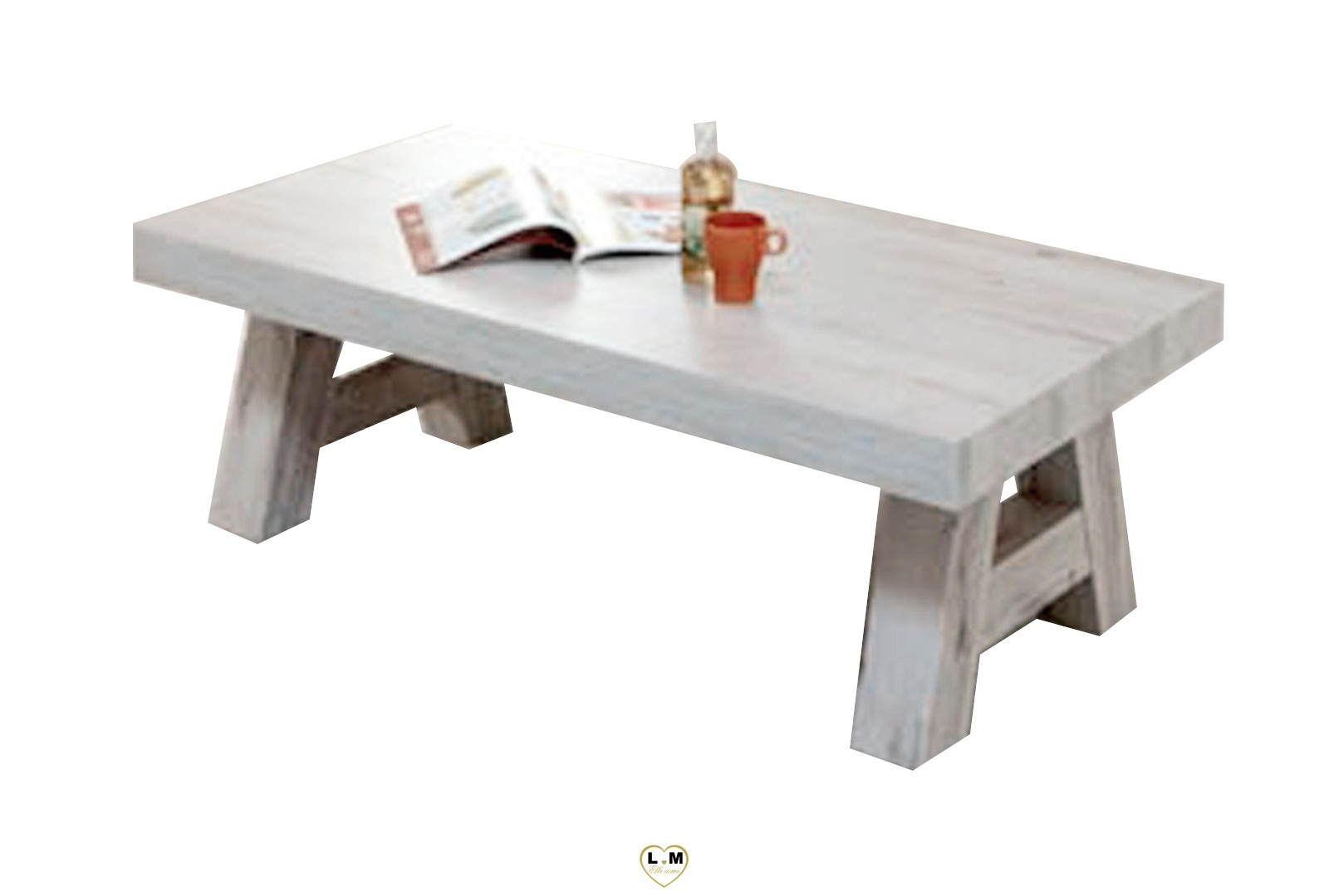 Table basse bois blanc vieilli for Table basse rectangulaire bois