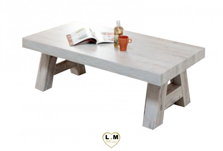 MERIDA BOIS BLANC VIEILLI SEJOUR SALLE À MANGER: LA TABLE BASSE RECTANGULAIRE. Dimensions: L: 135 - P: 68 - H: 43cm.