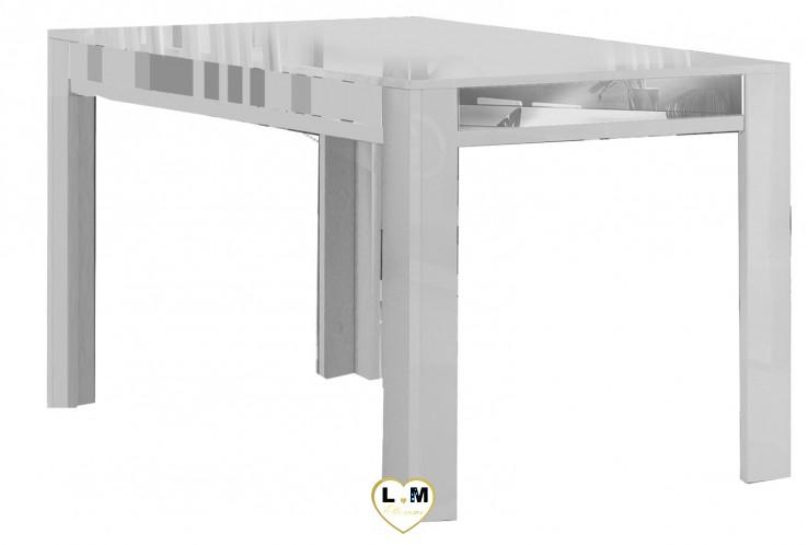 GALA LAQUÉ BLANC ET ARGENT SÉJOUR SALLE À MANGER DESIGN : La Table Repas 160
