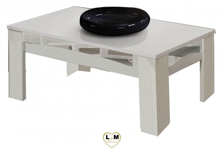 GOCCIA LAQUE BLANC ET ARGENT SÉJOUR SALLE À MANGER DESIGN : La Table Basse