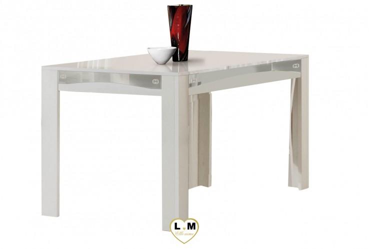 GOCCIA LAQUE BLANC ET ARGENT SÉJOUR SALLE À MANGER DESIGN : La Table Repas 160