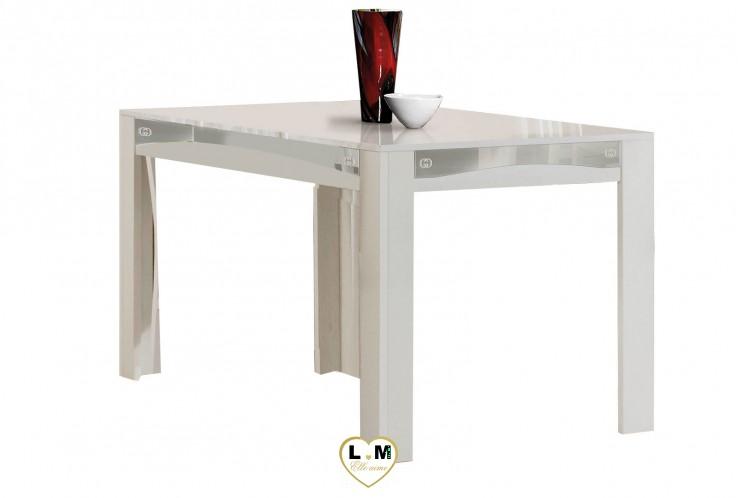 GOCCIA LAQUE BLANC ET ARGENT SÉJOUR SALLE À MANGER DESIGN : La Table Repas 190