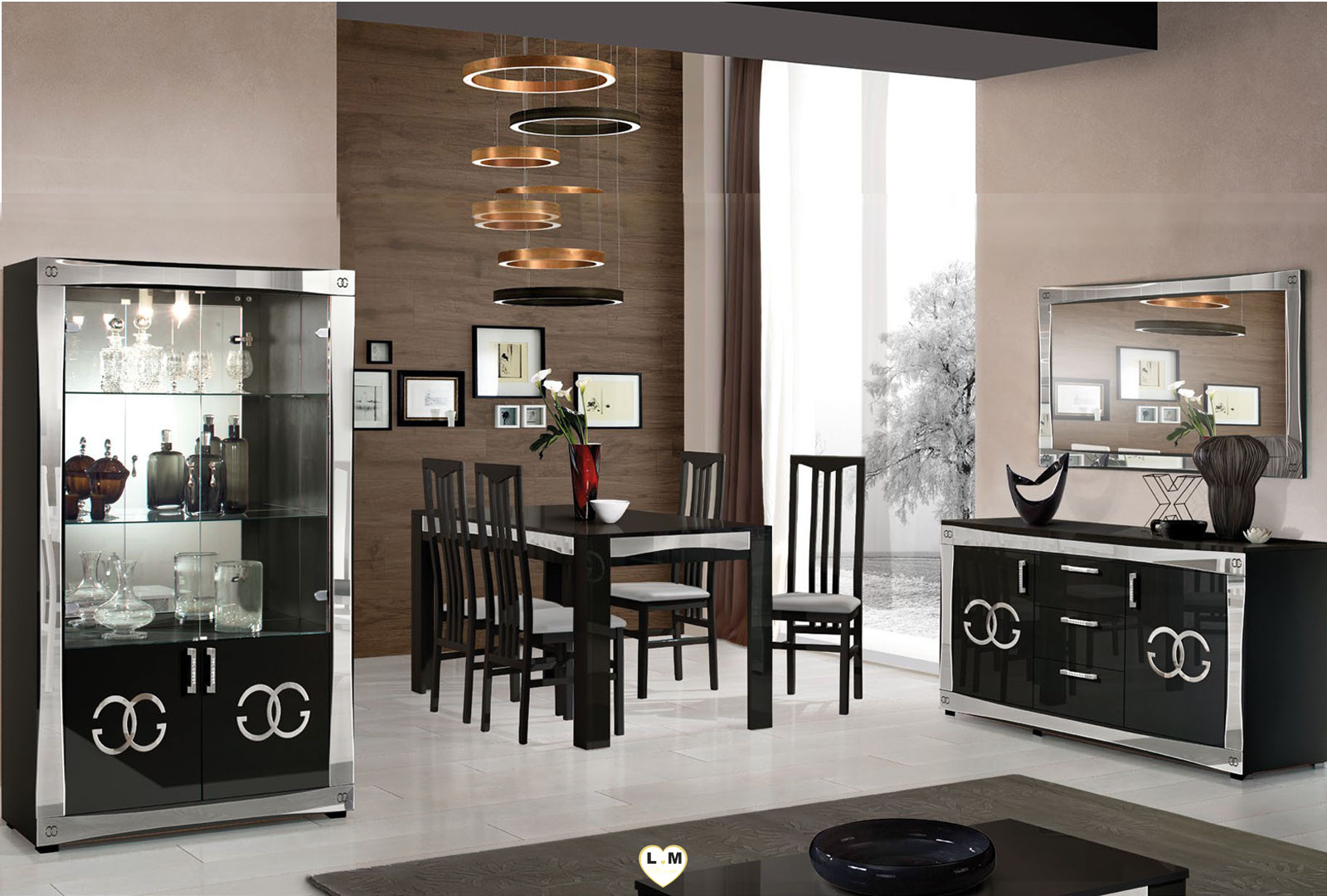 goccia laque noir et argent sejour salle a manger design. Black Bedroom Furniture Sets. Home Design Ideas
