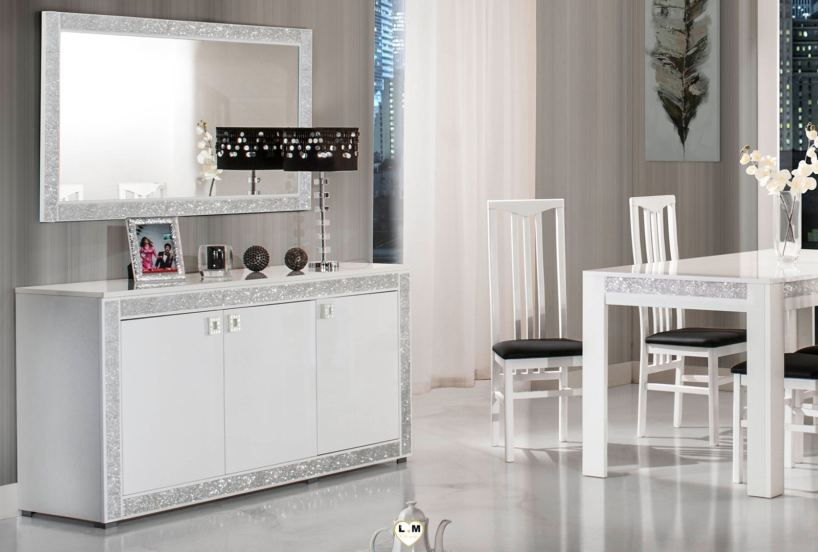 Glamour laque blanc sejour salle a manger design le - Salle a manger blanc laque pas cher ...