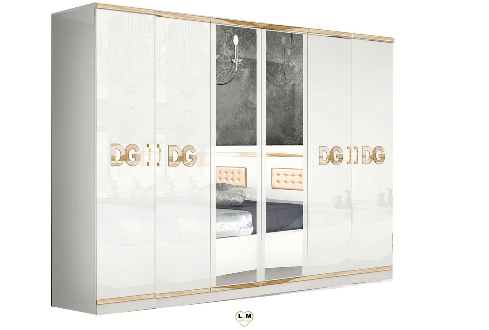 Gala Laque Blanc Et Dore Chambre A Coucher Design L Armoire 6 Portes Lignemeuble Com