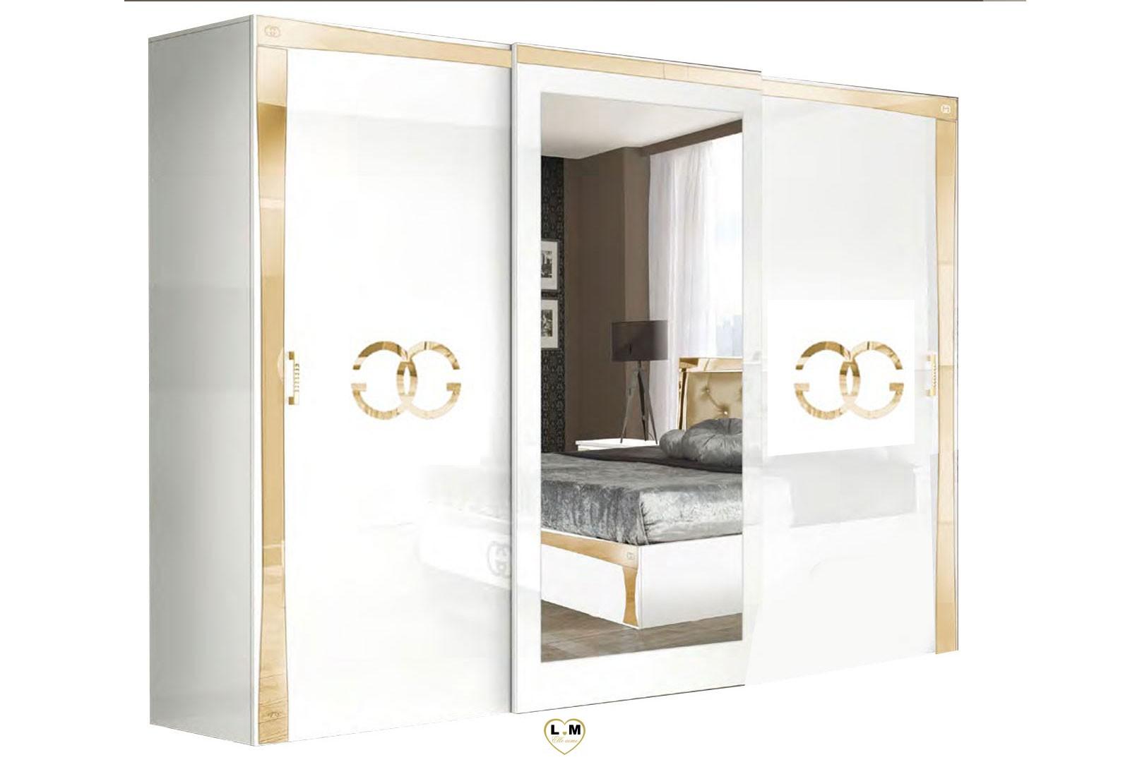 V Home Armoire Classique Pin Massif Recycle Blanc Et Dore Aude Lestendances Fr