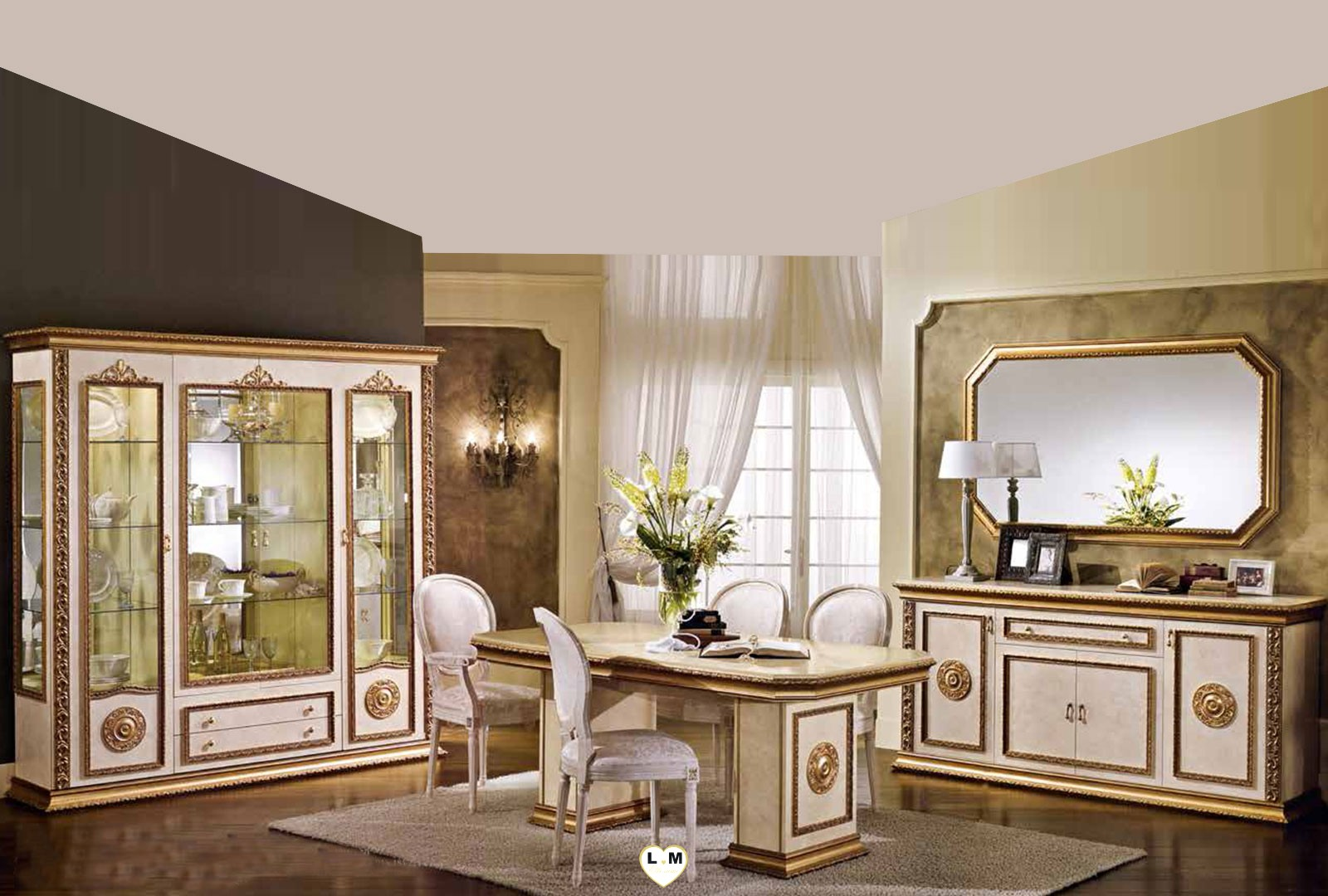 luigi laque ivoire et dore ensemble salle a manger lignemeuble com. Black Bedroom Furniture Sets. Home Design Ideas