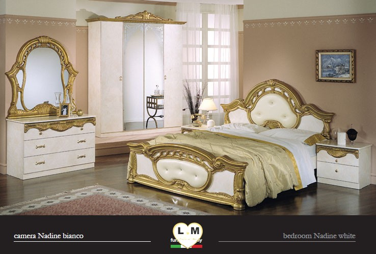 Awesome nadine laque ivoire et dore ensemble chambre a coucher with chambre a coucher complete - Chambre italienne pas cher ...