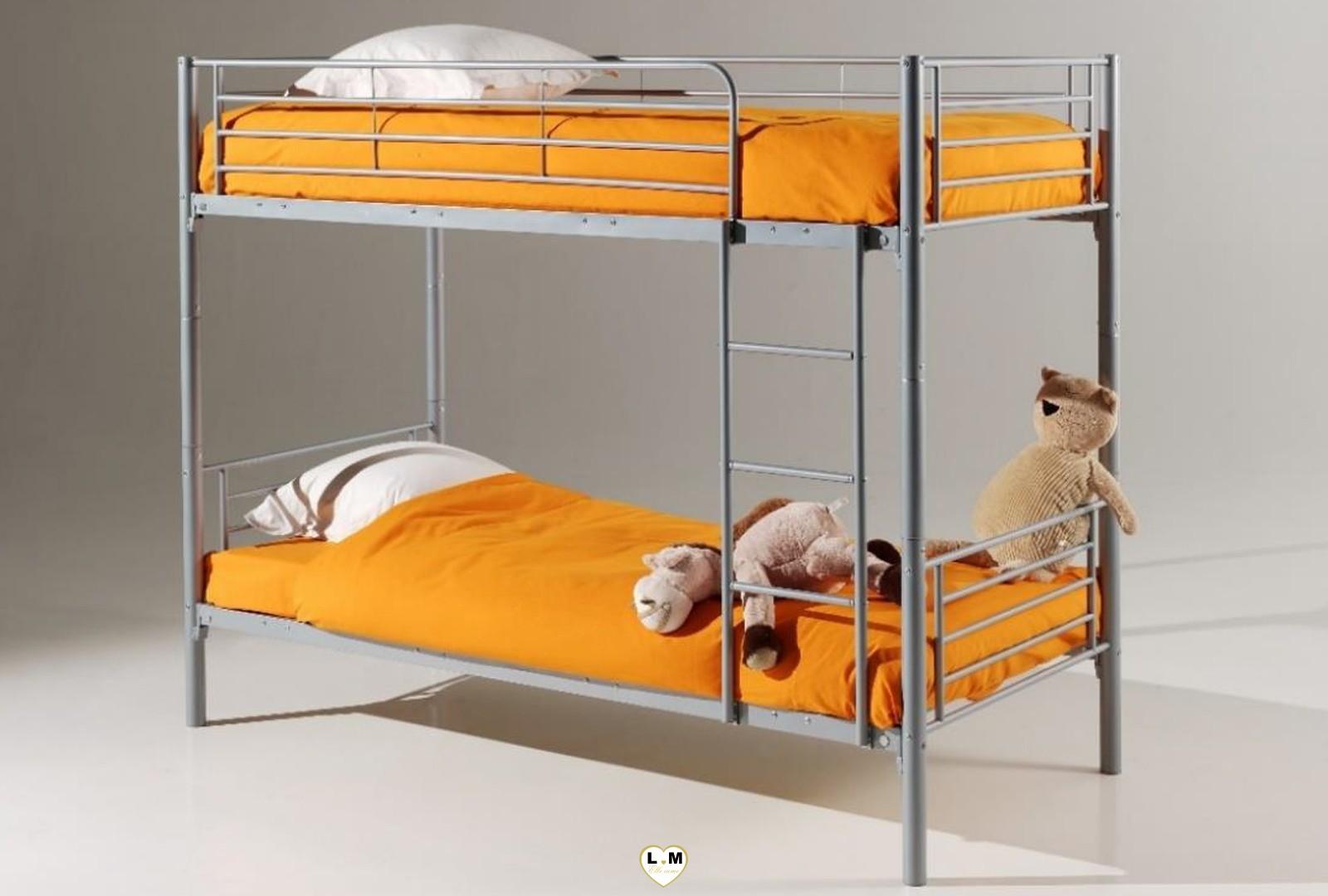 Caramel lit superpose metal 1 1 gris lignemeuble com - Securite pour lit superpose ...