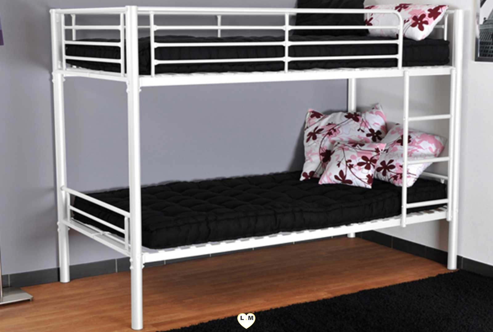 caramel lit superpose metal 1 1 blanc lignemeuble com. Black Bedroom Furniture Sets. Home Design Ideas