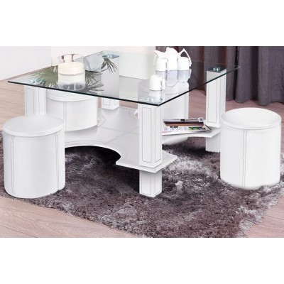 hugo table basse carree blanche lignemeuble com. Black Bedroom Furniture Sets. Home Design Ideas