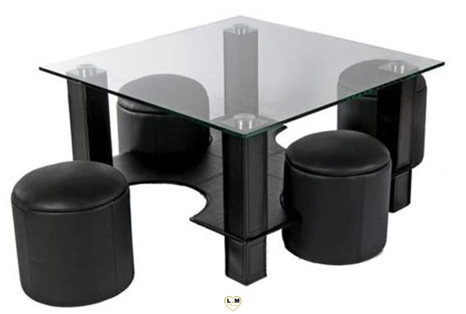 hugo table basse carree noire lignemeuble com. Black Bedroom Furniture Sets. Home Design Ideas