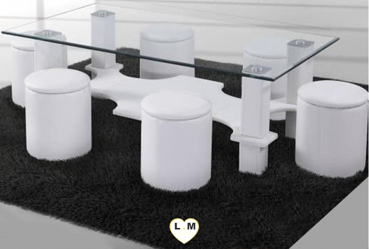HUGO TABLE BASSE RECTANGULAIRE BLANCHE