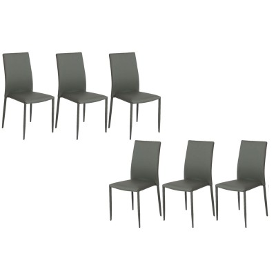 PADDY GRIS SET DE 6 CHAISES EMPILABLES