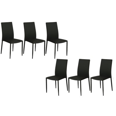 PADDY NOIR SET DE 6 CHAISES EMPILABLES