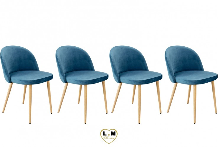 PATTY BLEU SET DE 4 CHAISES