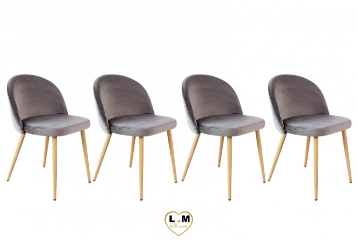 PATTY GRISE SET DE 4 CHAISES