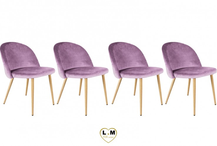 PATTY MAUVE SET DE 4 CHAISES