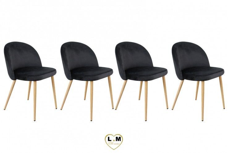 PATTY NOIR SET DE 4 CHAISES