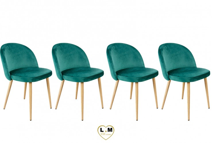 PATTY VERTE SET DE 4 CHAISES