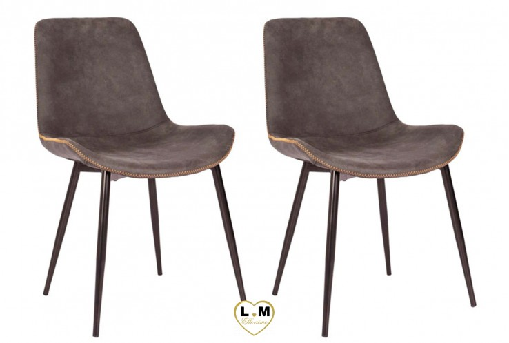 PERRY GRIS TAUPE SET DE 2 CHAISES