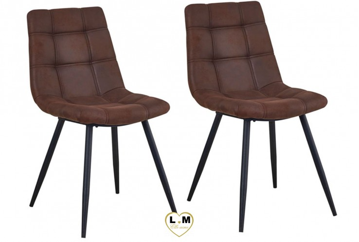 PHARELL BRUN SET DE 2 CHAISES