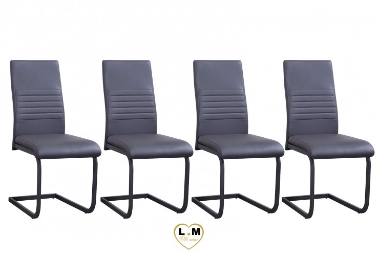 PIERO GRIS SET DE 4 CHAISES