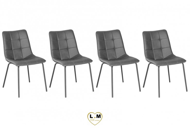 PRINCY ANTHRACITE SET DE 4 CHAISES