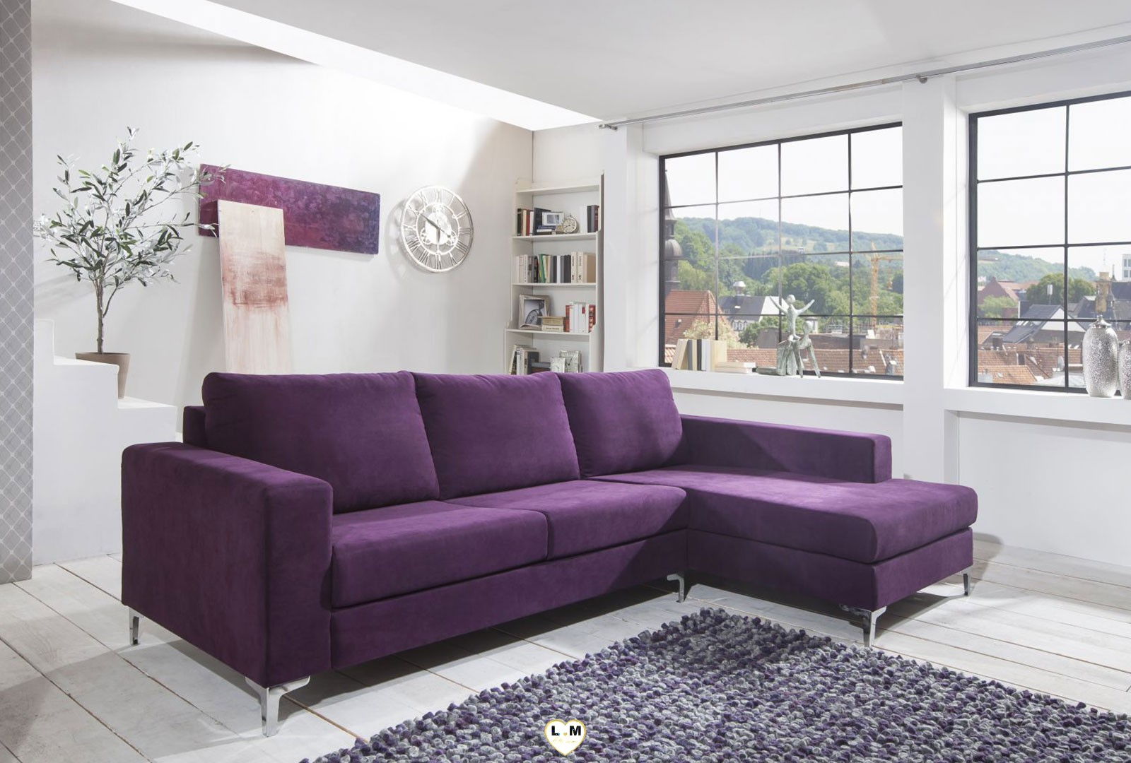 Prya violet canape angle tissus lignemeuble com - Canape convertible violet ...
