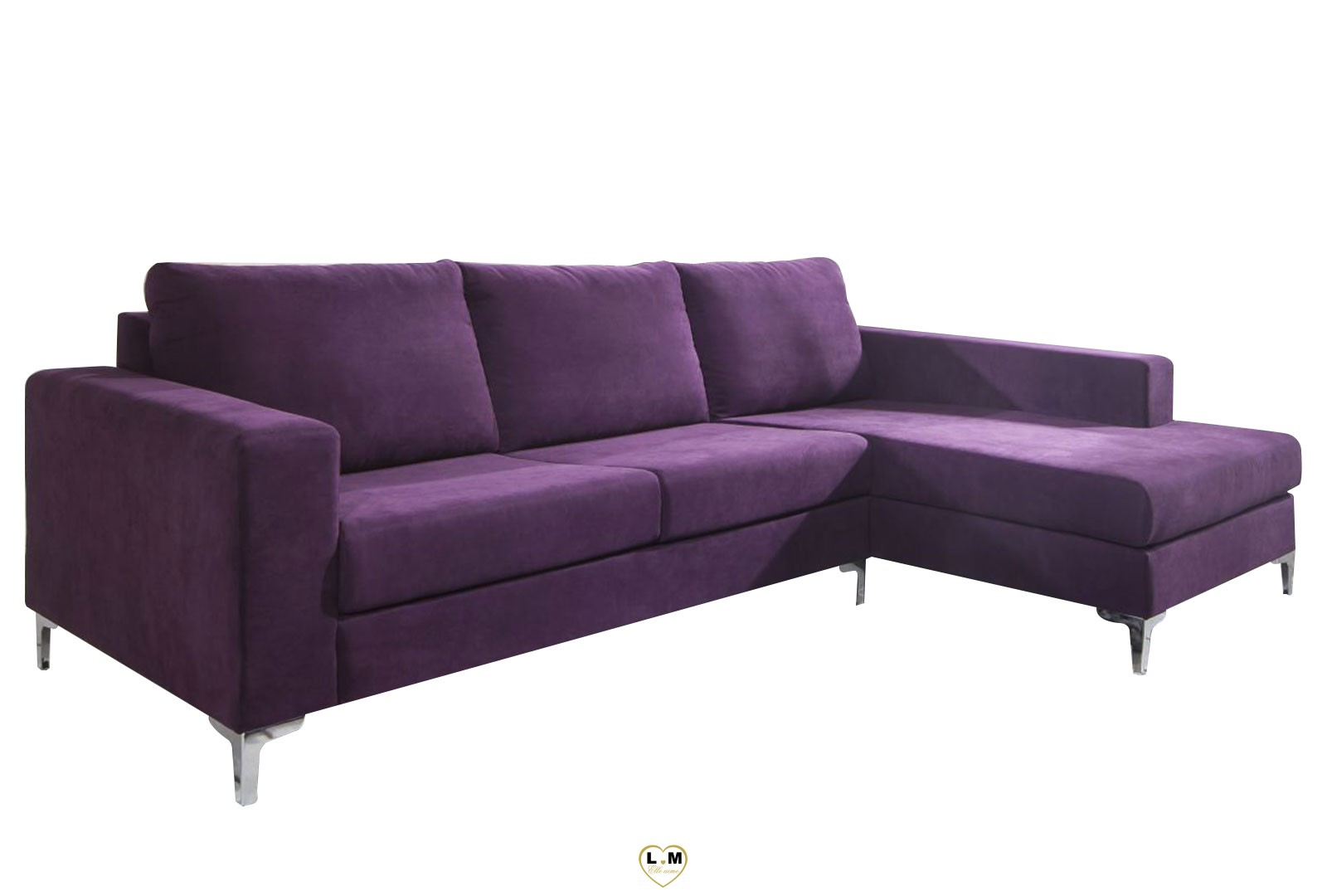 Prya violet canape angle tissus lignemeuble com for Canape tissus