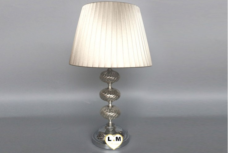 ANTIC SILVER VERRE METAL LAMPE