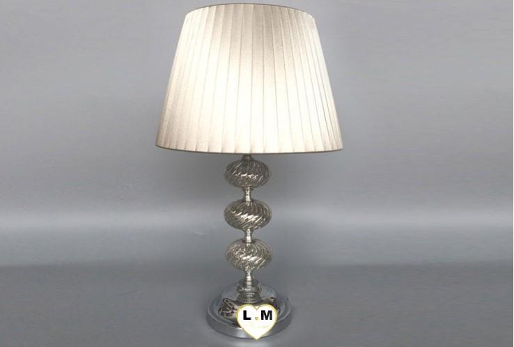 ANTIC SILVER VERRE METAL LAMPE