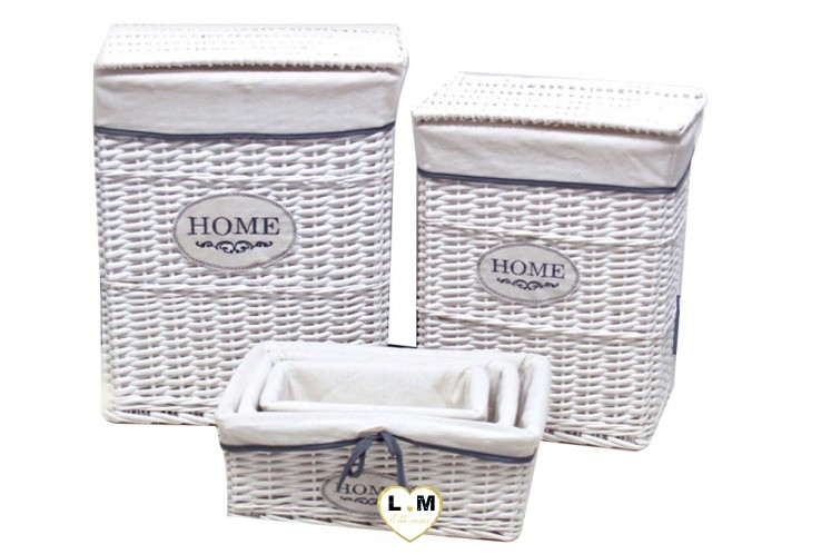 HOME BLANC RECTANGULAIRE SET 5 CORBEILLES OSIER