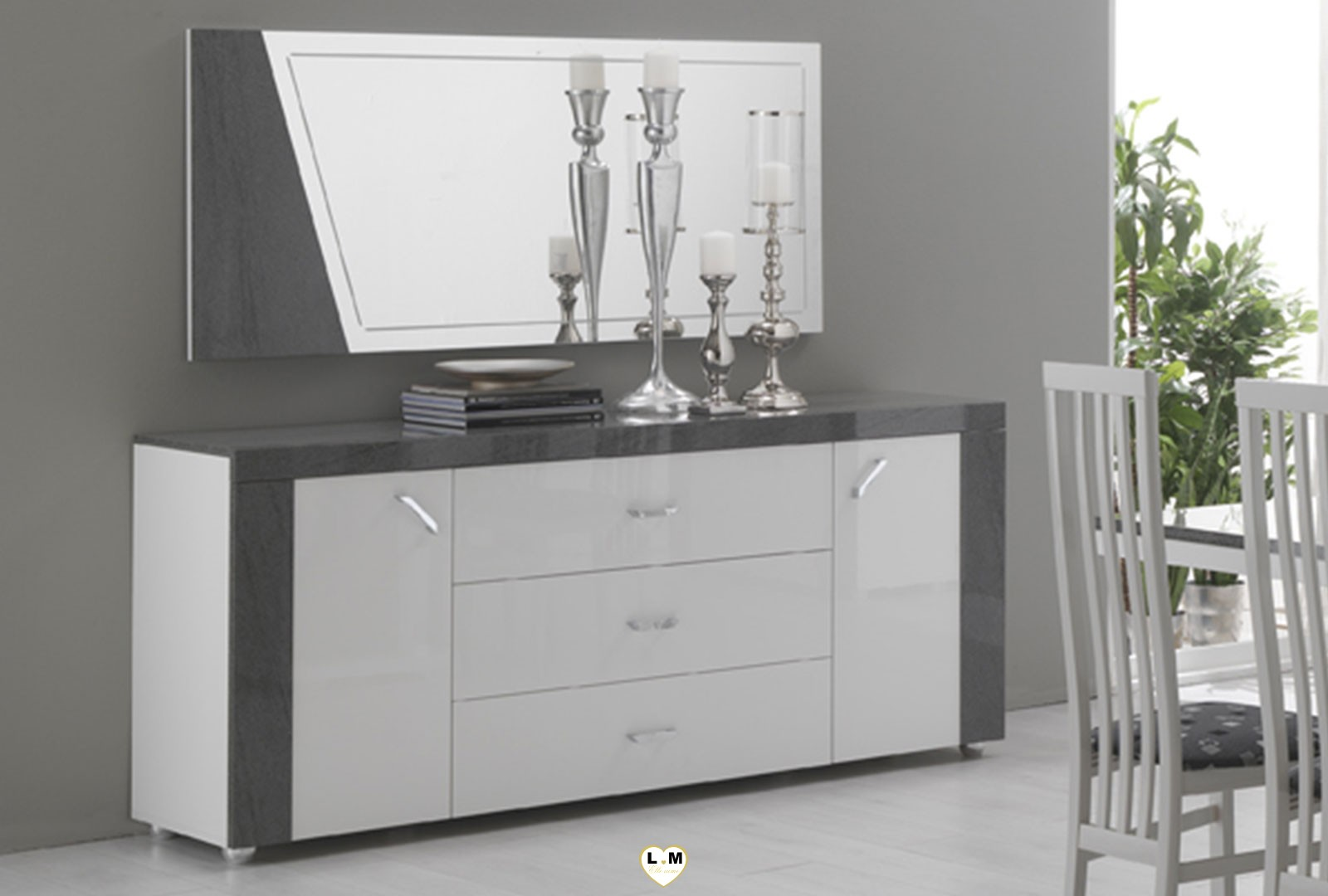 buffet de salle a manger laque blanc cool buffetbahut. Black Bedroom Furniture Sets. Home Design Ideas