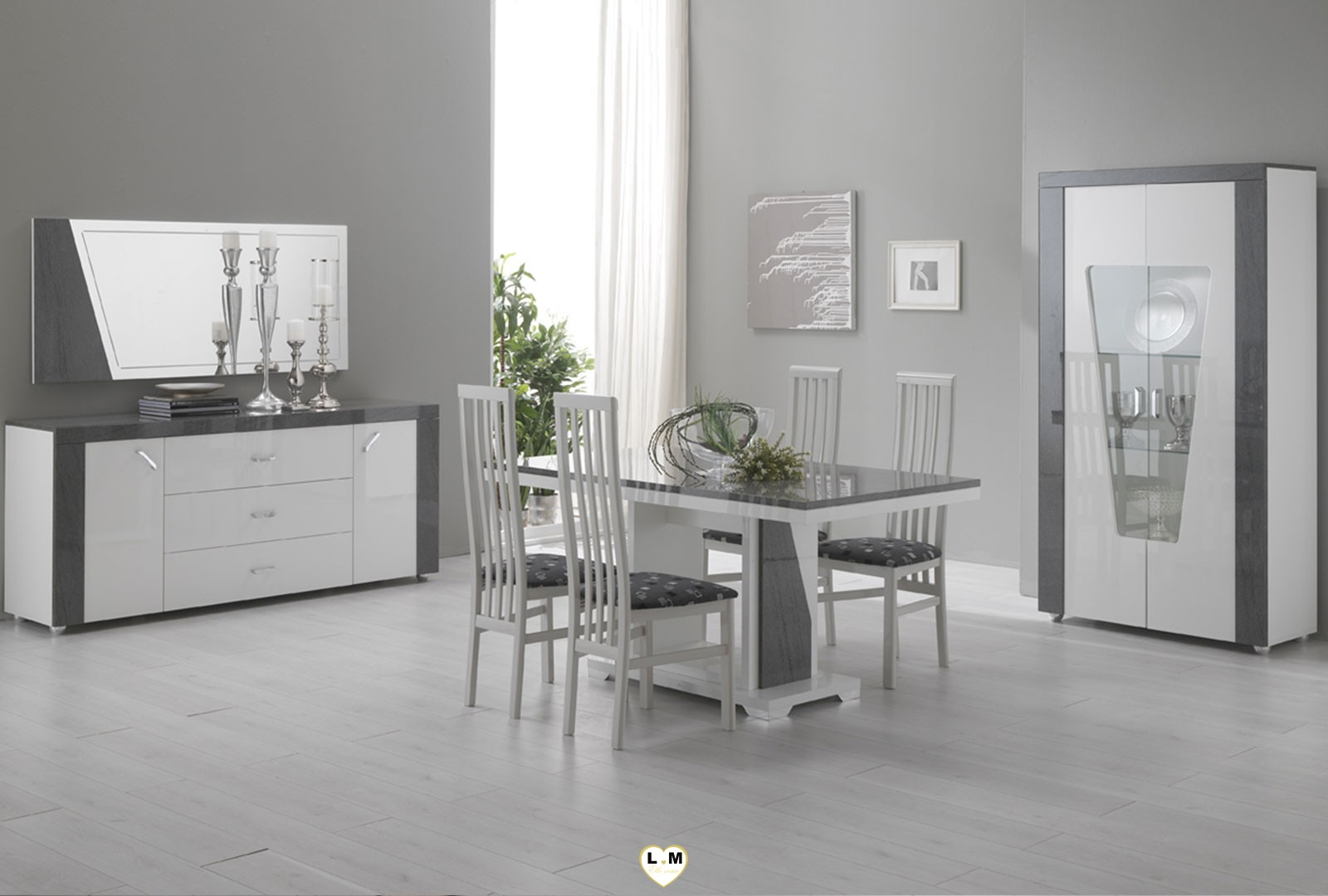 Awesome meuble de salle a manger gris contemporary for Meuble salle manger moderne conforama