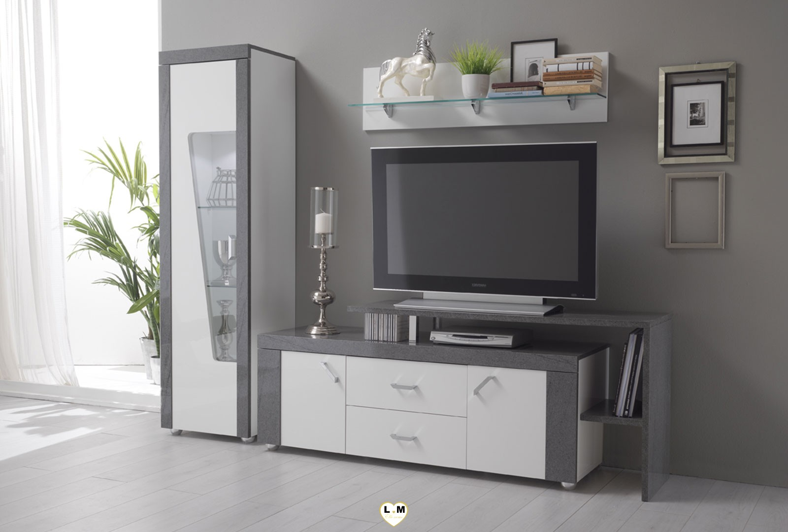 elbe laque blanc et gris granit ensemble sejour salle a manger lignemeuble com. Black Bedroom Furniture Sets. Home Design Ideas