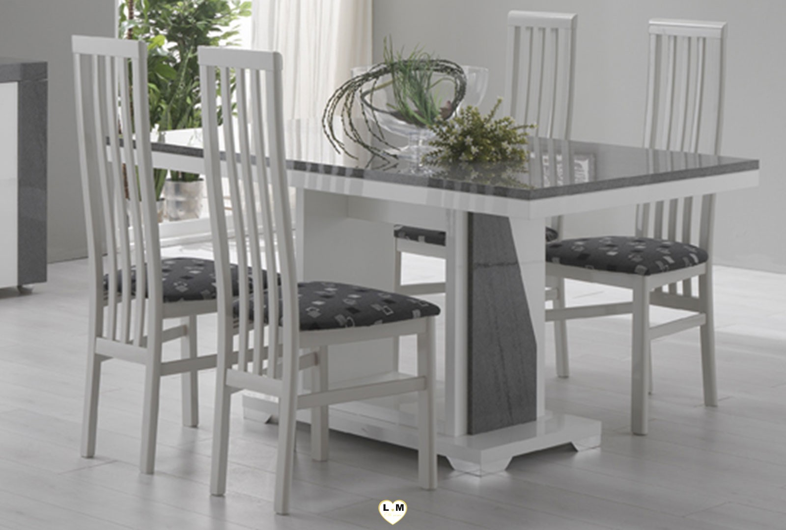 table salle a manger gris laqu table de salle manger. Black Bedroom Furniture Sets. Home Design Ideas