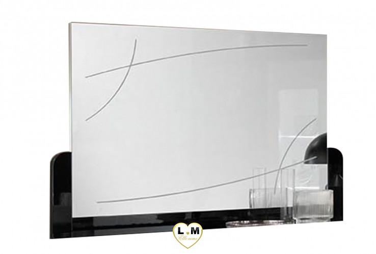 SASSUOLO LAQUE NOIR ET BLANC SÉJOUR SALLE À MANGER CONTEMPORAIN : Le Miroir