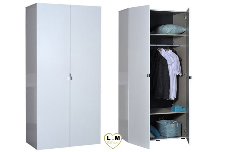 HENDAYE LAQUÉ BLANC ARMOIRE 3 DIMENSIONS MODERNE