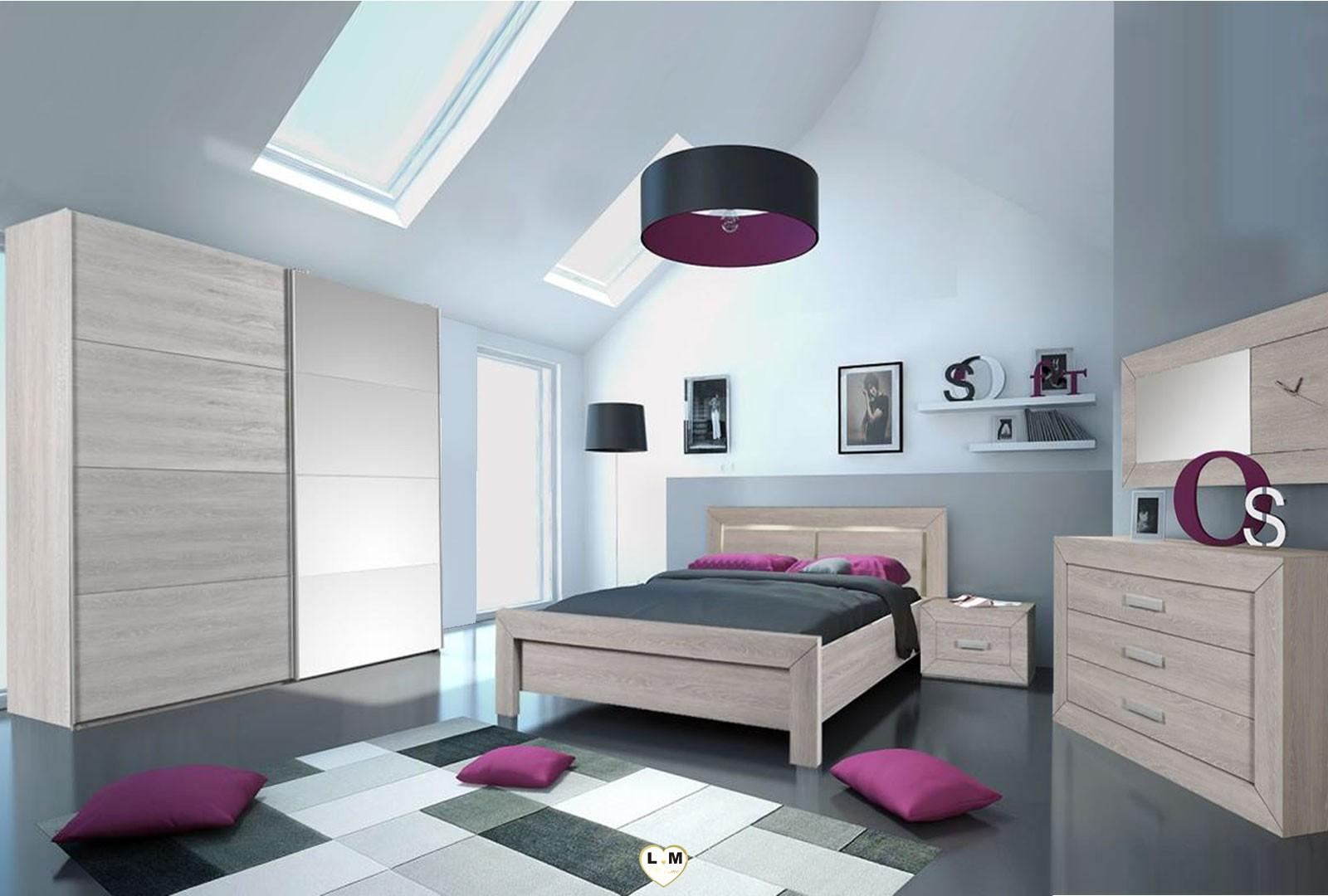 Olonne chene clair ensemble chambre a coucher moderne - Chambre a coucher moderne en bois massif ...