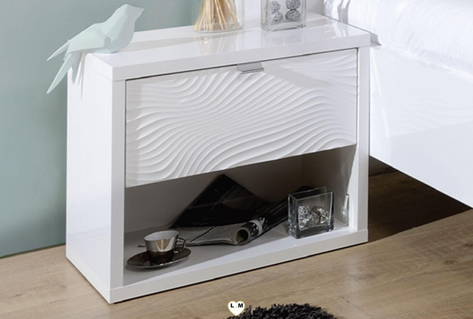 palmire laque blanc chambre a coucher moderne l 39 ensemble avec l 39 armoire 2 portes. Black Bedroom Furniture Sets. Home Design Ideas