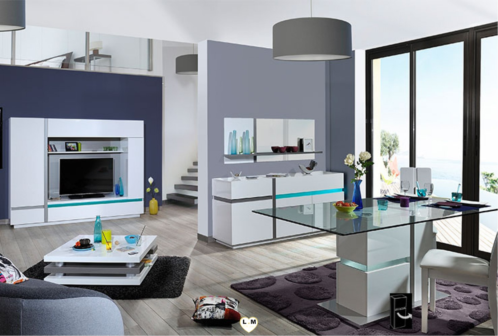 Quiberon laque blanc sejour salle a manger moderne le living tv lignemeuble com for Salle a manger moderne blanc laque