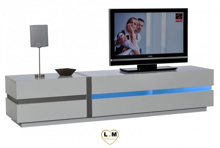 QUIBERON LAQUE BLANC SÉJOUR SALLE À MANGER MODERNE : Le Grand Meuble TV